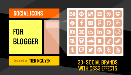 Social Icons for Blogger / Blogspot Website Sidebar Feature Image