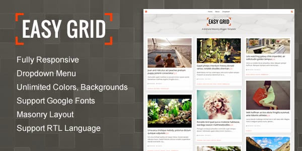 Easy Grid – Responsive Portfolio Masonry Blogger Template – V1.0.1