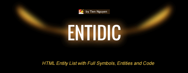 EntiDic – HTML Entity List with Full Symbols, Entities and Codes Feature Image