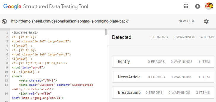 Besonal SEO Check Results with Google Structured Data Testing Tool