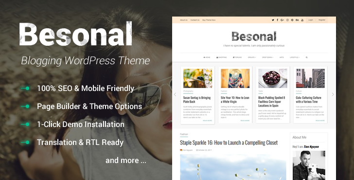 Besonal – WordPress Theme for Personal Blogs Feature Image
