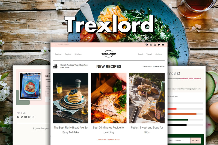 Trexlord – Responsive Cooking Blog WordPress Elementor Template Kit Feature Image