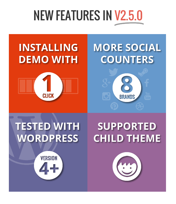Support 1 click install demo - child theme - 8 social counter icons - compatible wordpress 4.0