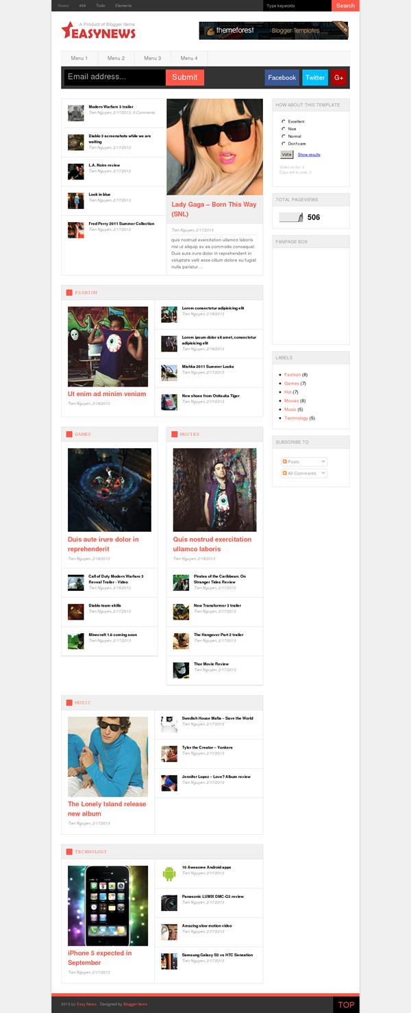 Easy News – Free Responsive Magazine Blogger Template Screen Shot