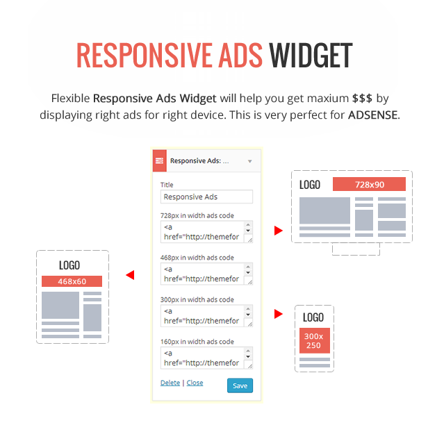 Responsive Ads Widget - Adsene Optimized - Delipress - Magazine and Review WordPress Theme
