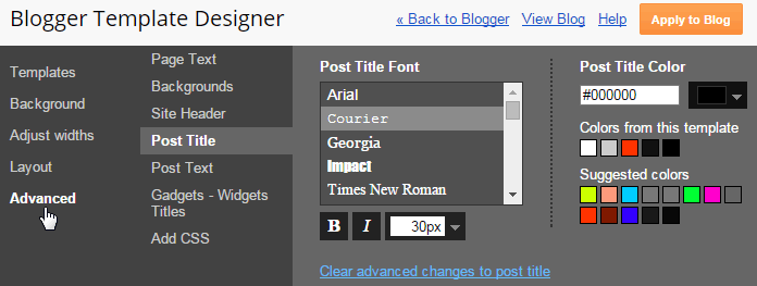 Work with Blogger Template Designer
