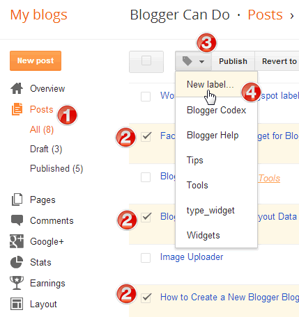 Add new label for multi posts for Blogger
