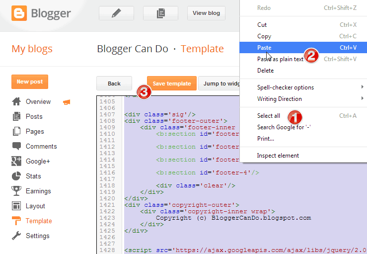 Delete and Paste Template code in Blogger Blog Dashboard
