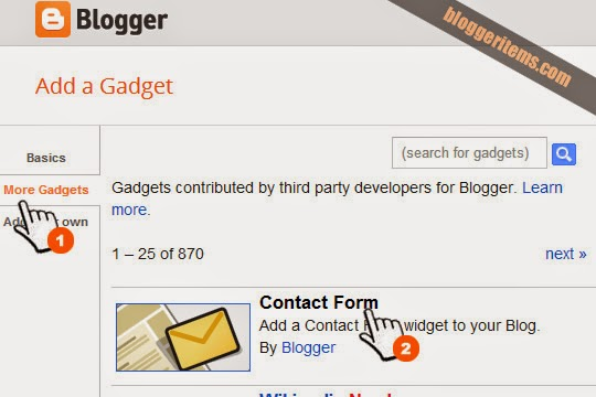 Add widget Contact form for Blogger
