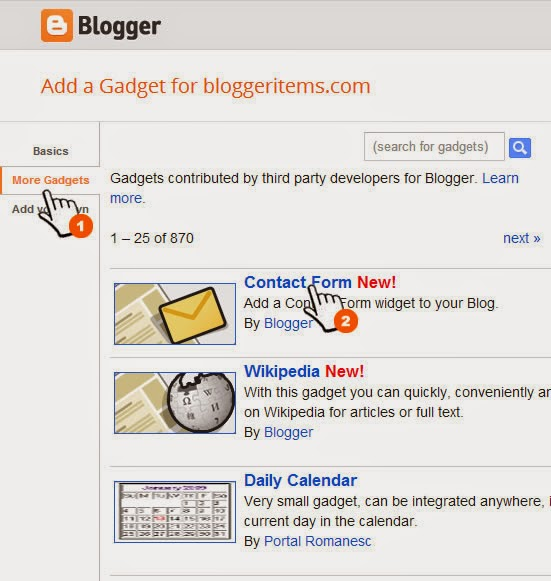 Add contact form for Blogger window