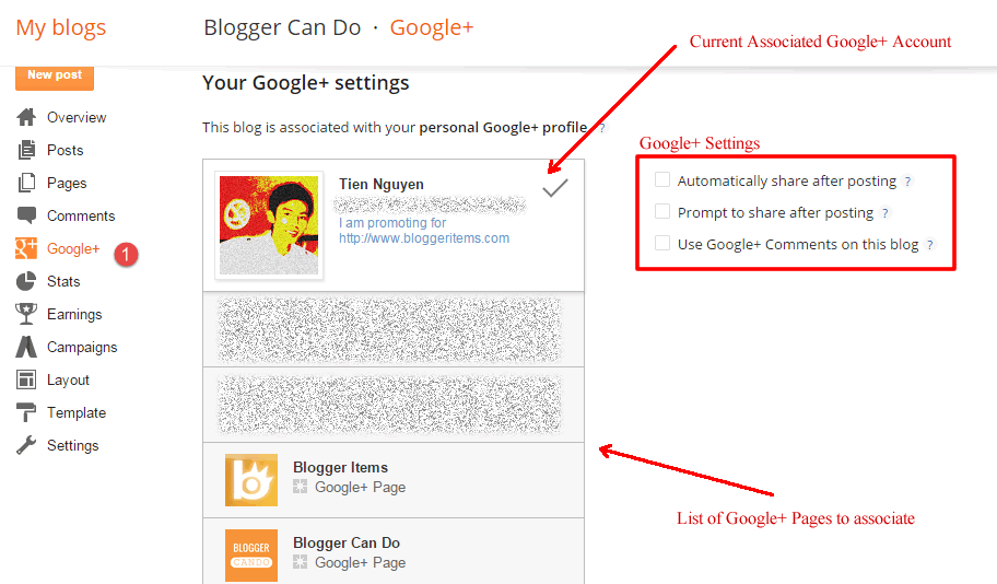 Working with Your Google+ Settings on Blogger - Access