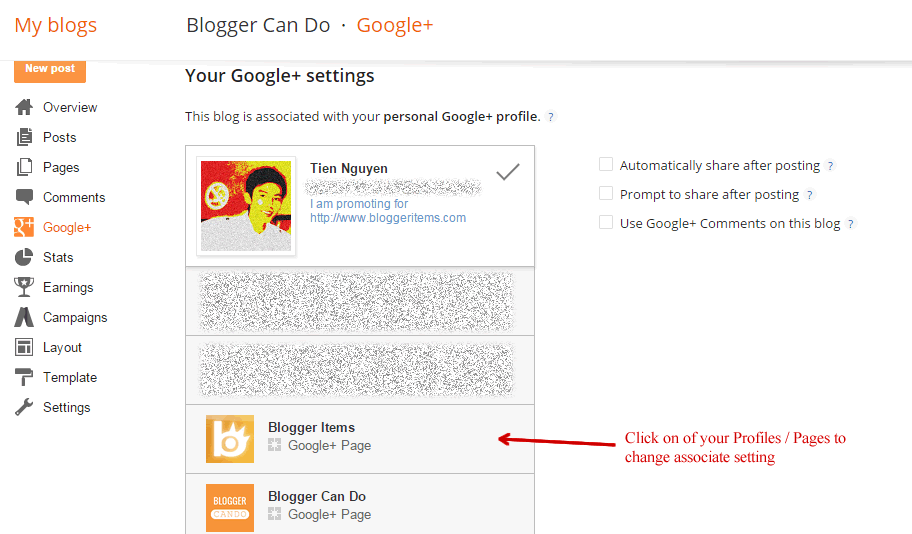 Working with Your Google+ Settings on Blogger - Change Associate