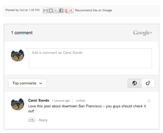 Working with Your Google+ Settings on Blogger - Comment on display