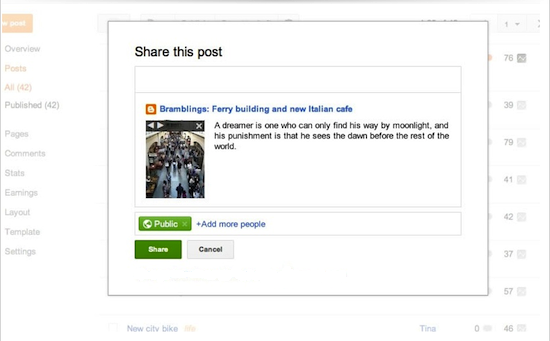 Working with Your Google+ Settings on Blogger - Share Box