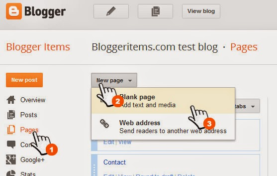 Create static page to add Contact form for Blogger