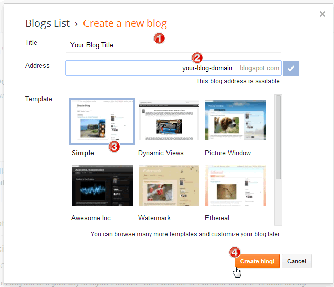 Blogger Create New Blog Window