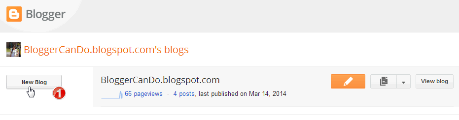 Blogger Main Dashboard with New Blog Button