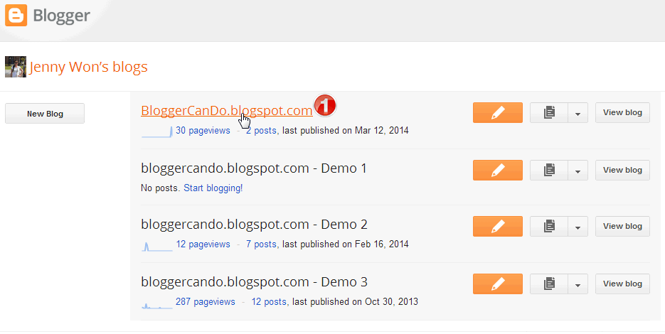Choose Blog in Blogger Main Dashboard