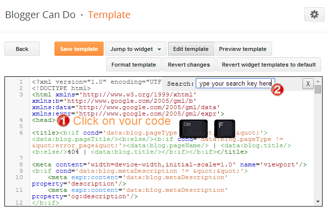 How to search a code in your Blogger Blogspot Template - Search