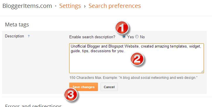 Input Home Page Description for Blogger