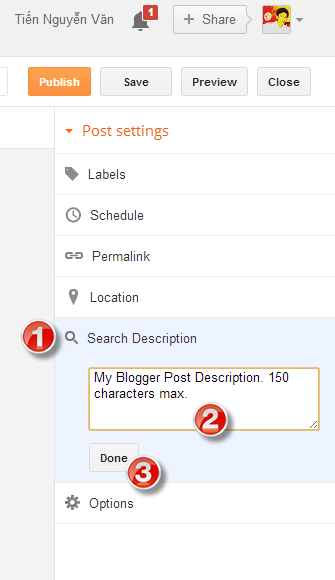 Input Post Description before Publish for Blogger Post
