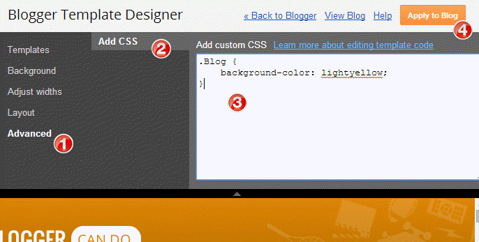 Add Advanced CSS into Blogger template