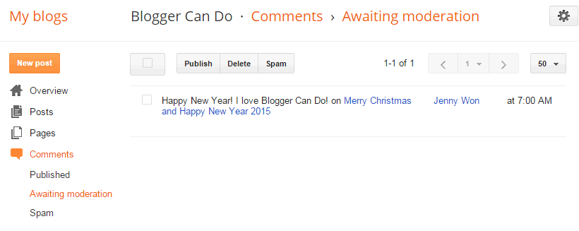 Awaiting Moderation Page - Manage Your Blogger / Blogspot Comments