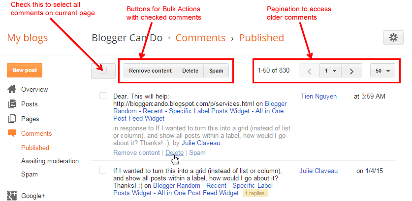 Published Page - Manage Your Blogger / Blogspot Comments
