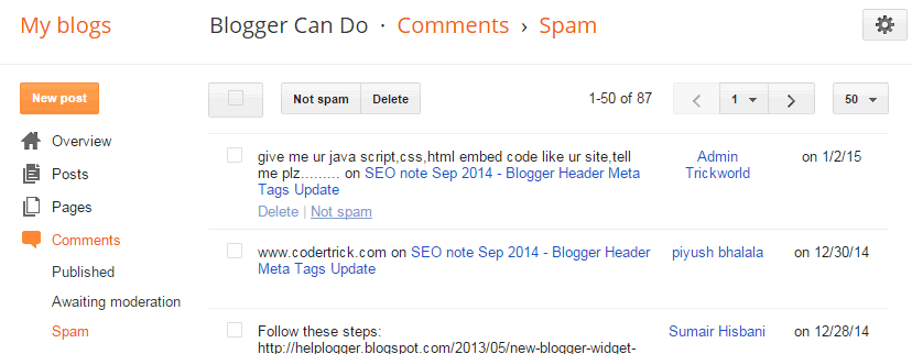 Spam Page - Manage Your Blogger / Blogspot Comments