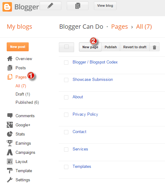 Create Your First Page with Blogger - Access Dashboad
