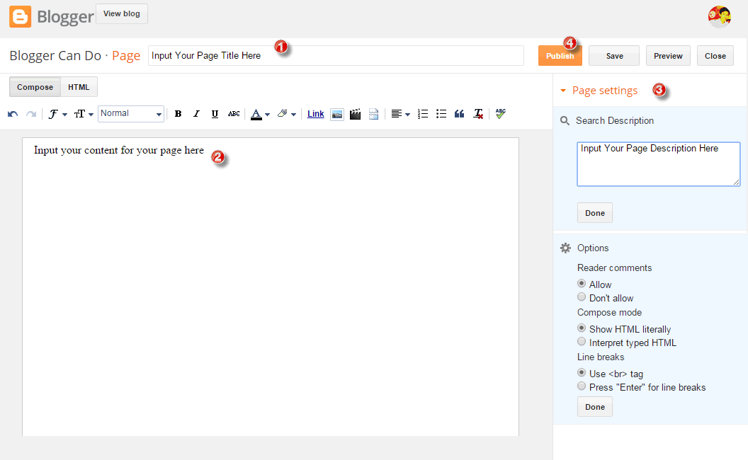 Create Your First Page with Blogger - Create new page