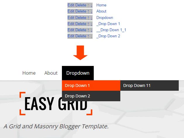 Menu Structure: Easy Grid - Responsive Portfolio Masonry Blogger Template