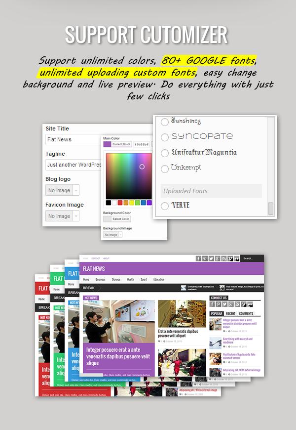 Flat News – Responsive Magazine WordPress Theme - Customizer and Live preview