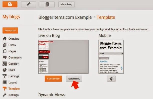 Open Blogger and Blogspot Template Code Editor