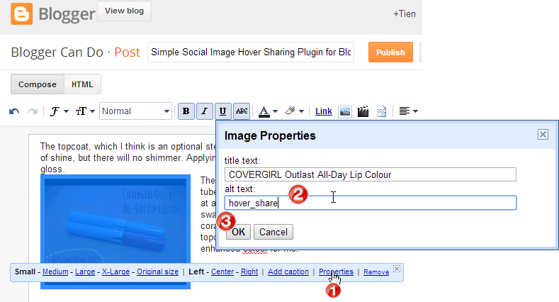 "Input ""alt"" to make image work with Social Image Hover Sharing Plugin"